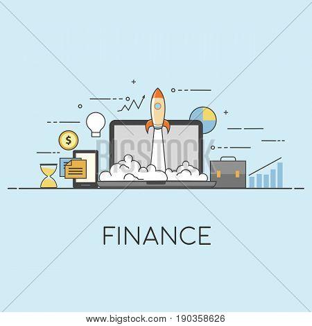 Flat vector illustration. Concept illustration of successfull startup