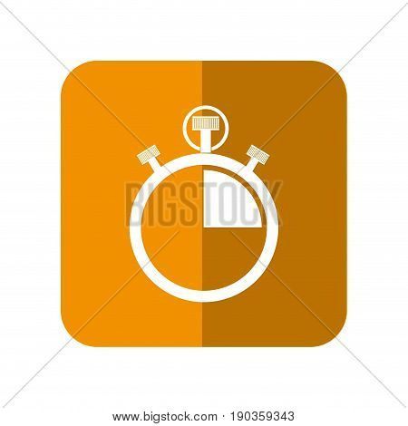 chronometer device icon over orange square and white background vector illustration