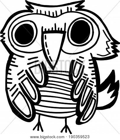 Doodle owls Black and white cute owls background. Great for coloring book, wrapping, printing, fabric and textile. Vector illustration