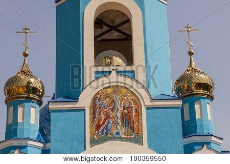 Sharhorod - tower of blue orthodoxy church Ukraine Europe.