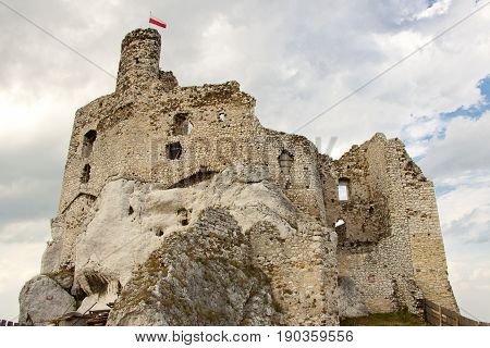 View on old castle in Mirow - Poland Silesia.