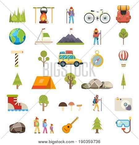 Travel Rest Symbols Tourist Accessories Icons Flat Set Design Template Vector Illustration