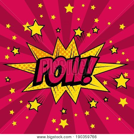 Comic like pow pop art with stars sign over magenta striped background vector illustration
