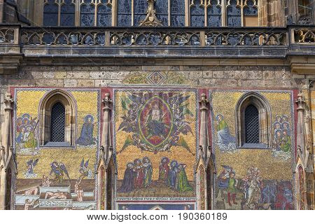 14th century St. Vitus Cathedral facade mosaic Last Judgment Prague Czech Republic. Cathedral is a Roman Catholic metropolitan cathedral in Prague the seat of the Archbishop of Prague.