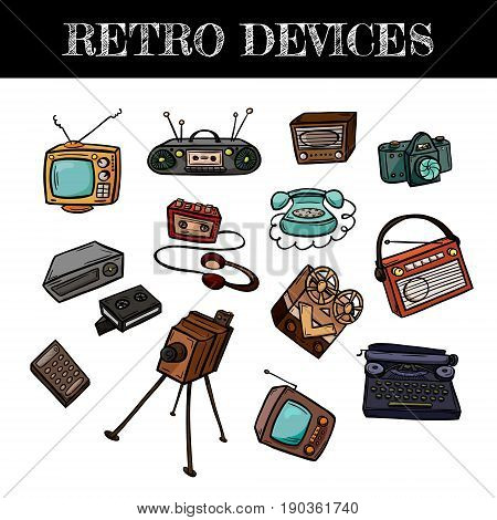 Set of retro devices in doodle style. Hand drawn vector illustration isolated on white.