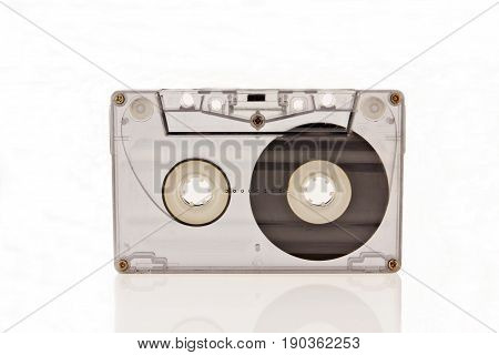 Audio cassette isolated on white background, audio, demo