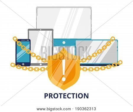 Modern flat design vector illustration data protection icon for graphic and web design. Secure on line and data protection for graphic and web design