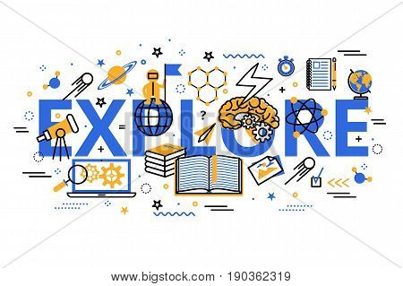 Explore and Learning heading title web banner. Vector illustration in modern flat line design. Explore concept web banner.