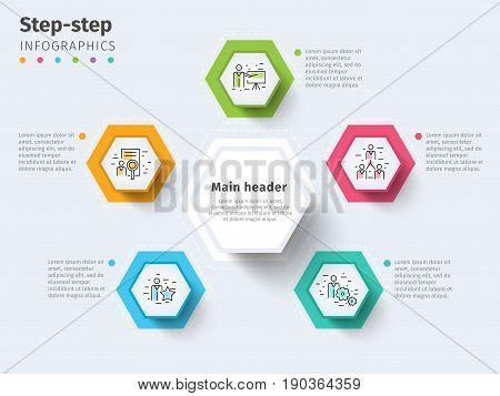 Business 5 Step Process Chart Infographics With Step Circles. Bright Corporate Graphic Elements. Com