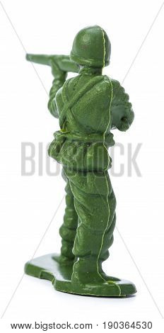 toy soldier isolated on white. close up