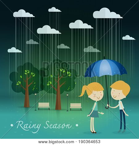 boy gift umbrella girlrainy season in park. Natural landscape in the flat style. a beautiful park.Environmentally friendly natural landscape.Vector illustration