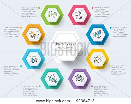 Business 8 Step Process Chart Infographics With Step Circles. Bright Corporate Graphic Elements. Com