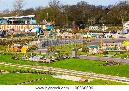 Hague, Netherlands - April 8, 2016: People in Madurodam, Holland miniature park and tourist attraction in Hague, Netherlands