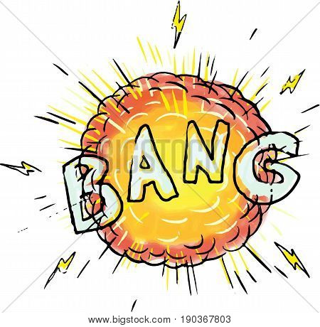 Illustration of an explosion and the word text bang set on isolated white background done in cartoon style.