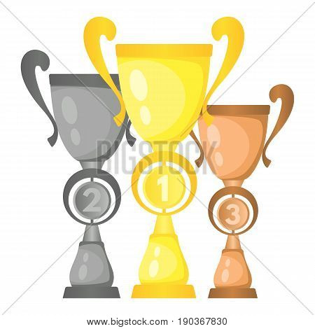 Set of vector trophy champion cups in gold silver and bronze. Championship prizes for first second and third place. Victory symbols isolated on white background.