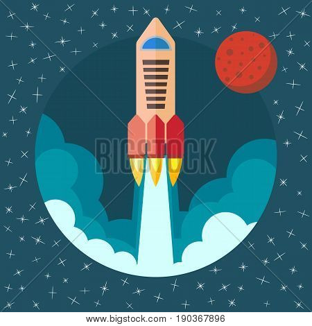 Space rocket ship in round piece. Space rocket launch with Mars in the background. Project startup and development process concept. The rocket flies upwards.