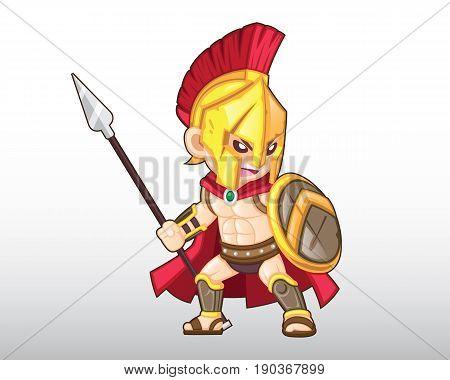 Vector Spartan Warrior shouting battle cry Illustration