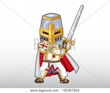 Vector Templar Knight with his sword Illustration