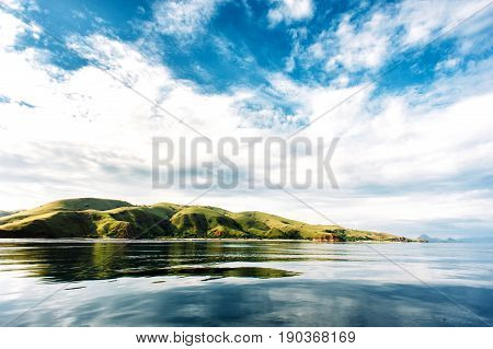 Islands of Komodo National Park in East Nusa Tenggara Flores Indonesia. Amazing marine seascape landscape