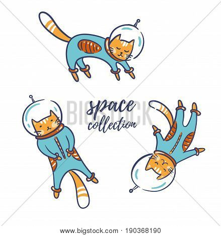 Funny cats astronauts in space isolated on the white background vector illustration. Cat as a cosmonaut space suit funny futuristic design for kids