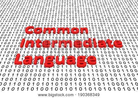 Common intermediate language as binary code, 3D illustration