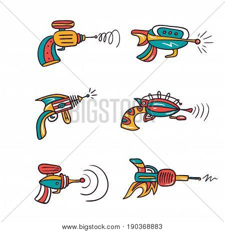 Vector future gun pistol illustration isolated on white background. Set of space blasters.