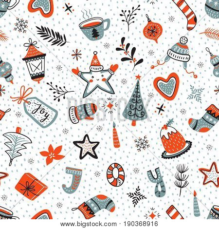 Vector cartoon hand-drawn collection of traditional Christmas set seamless pattern. New year background.