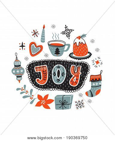 Vector cartoon hand-drawn card with traditional yummy Christmas desserts cup and toys isolated on white background. Ornamental christmas lettering - JOY