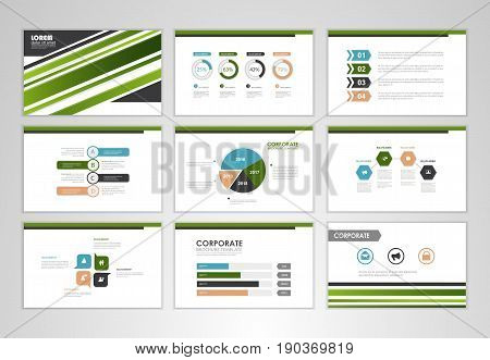 Green layout brochure design brochure template for business presentation brochure annual report flyer and leaflet cover with Infographic brochure elements for business data visualization.