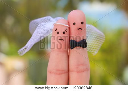Fingers art of couple. Concept of wedding, woman and man needs to get married, but they don't want.