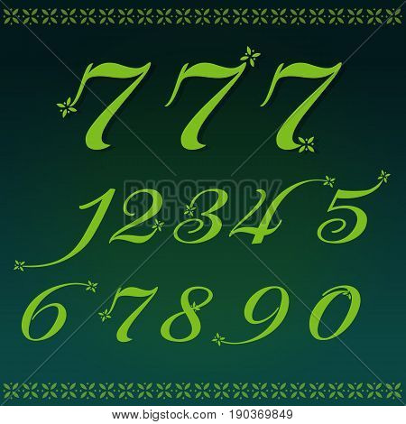 Numbers 0-9 flower and luxury vector illustration