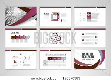 Purple layout brochure design brochure template for business presentation brochure annual report flyer and leaflet cover with Infographic brochure elements for business data visualization.