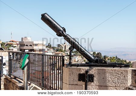 Monument for the Davidka a legendary homemade mortar used in the Israel Independence war 1948 in Safed (Tzfat) Israel