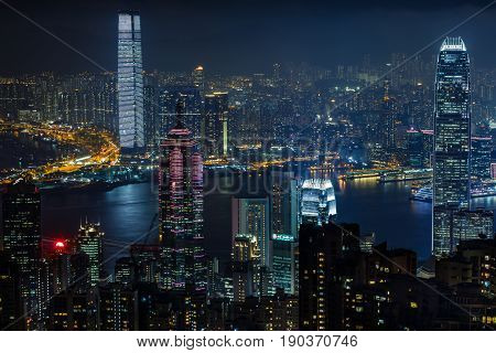 Aerial View From Victoria Peak To Skyscrapers Of Hong Kong And Kowloon Islands, Hong Kong, China