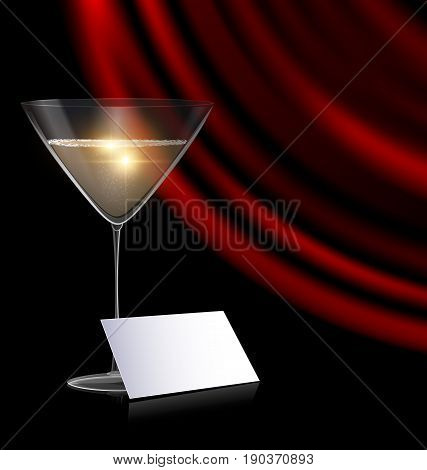black background, the large glass of champagne or white wine with red drape and abstract empty card