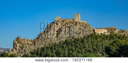 Profile view of the castle of Sax, a fortress of century XV over big rock and forest in the province of Alicante, spain