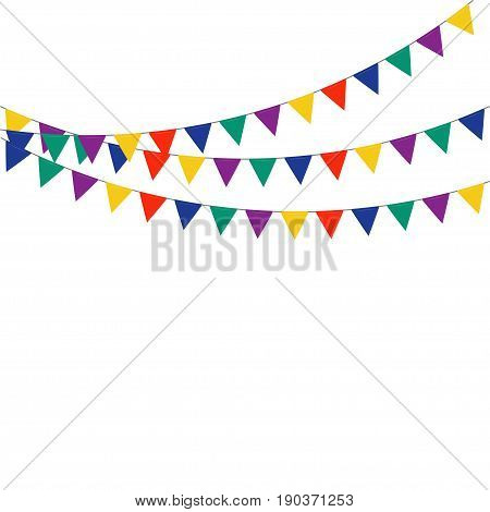 Celebrate flags. Multicolored bright buntings flags garlands isolated on white background