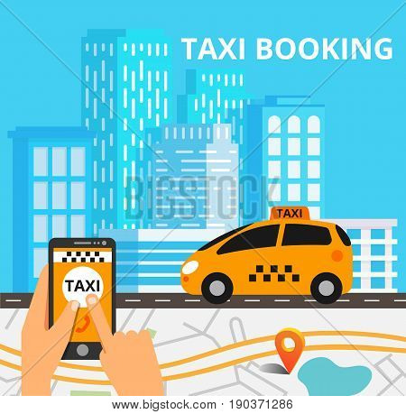 Public taxi on line service mobile application. Navigation map with yellow taxi and smatrphone. Flat vector app illustration.