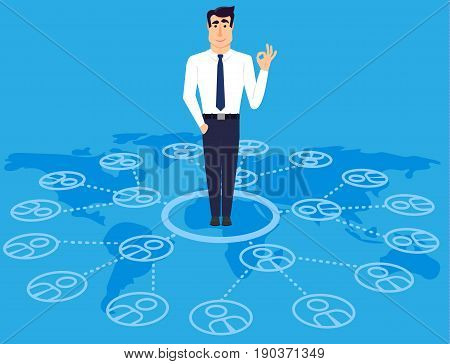 Communicable young business man standing on world map. The importance of communication in the successful business. Vector illustration in modern flat style.