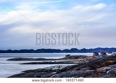 Arctic Fjord Panorama With Houses At The Stony Tundra Shore In A Suburb Of Nuuk, Greenland