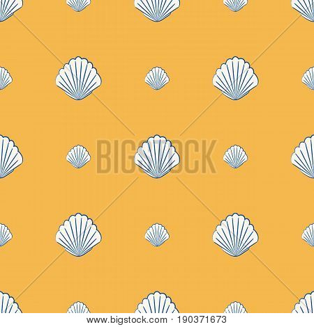 Vector seamless pattern with scallop shells marine design ocean background. Beautiful marine design perfect for prints and patterns. Nature beach shell pattern summer seashell aquatic fabric.