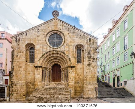 COIMBRA,PORTUGAL - MAY 12,2017 - View at the church of Santiago in Coimbra. Coimbra is the fourth largest urban centre in Portugal.