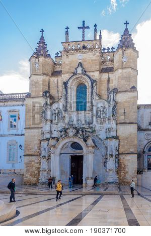 COIMBRA,PORTUGAL - MAY 12,2017 - Facade of Monastery Santa Cruz in Coimbra. Coimbra is the fourth largest urban centre in Portugal.