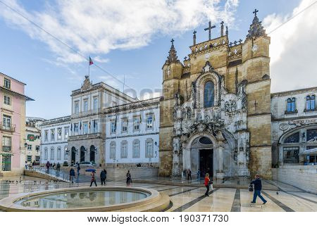 COIMBRA,PORTUGAL - MAY 12,2017 - View at the monastery of Santa Cruz in Coimbra. Coimbra is the fourth largest urban centre in Portugal.
