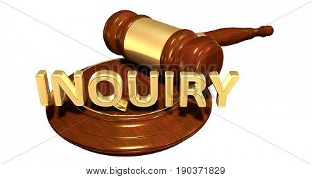 Inquiry Law Concept 3D Illustration