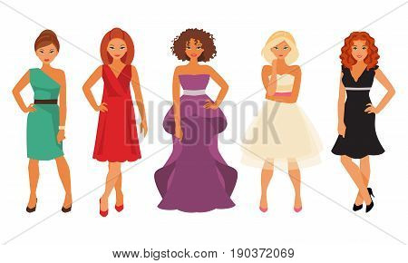 Set of women in evening and cocktail dresses isolated on white background. Prom dresses