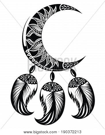Dream catcher with moon. Dream catcher symbol