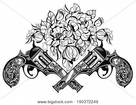 Guns with flowers. Tattoo illustration with guns