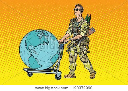 Military tourism, the mercenary with a cart Earth. War and soldiers. Pop art retro vector illustration