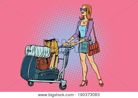 Woman tourist with Luggage cart. Pop art retro vector illustration